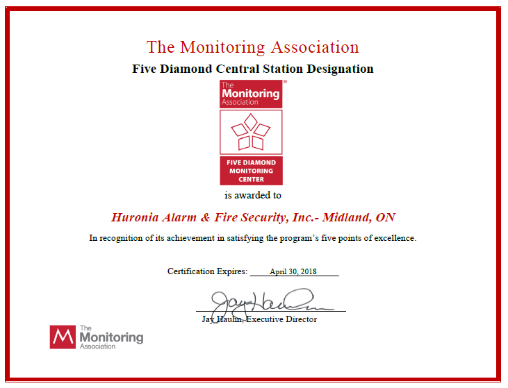 Huronia renews their Monitoring Station's Five Diamond Central Station Designation