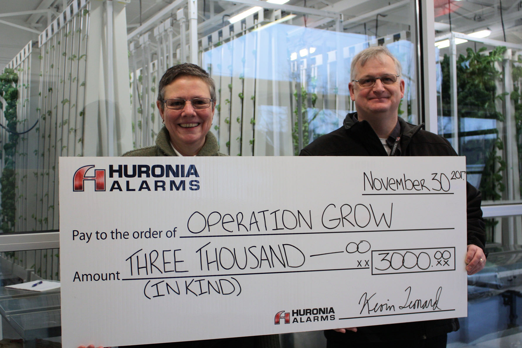 Huronia Alarm & Fire Security Inc. makes donation-in-kind to Operation Grow