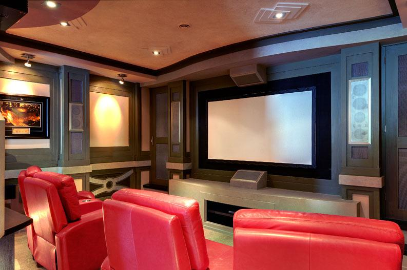 Home theatre room with lighting control.