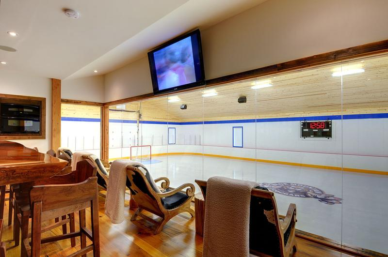 Television and audio installation for hockey rink viewing area.