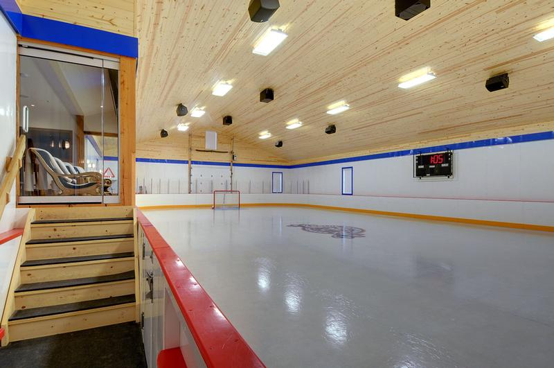 Professional audio system for hockey rink.