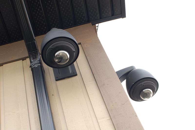 Residential security cameras - painted dome cameras - barn outbuilding.